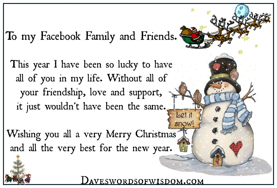 merry christmas my facebook family friends - Merry Christmas To My Family