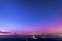 Zorza polarna sfotografowana 08.09.2017. Autor: Marián Dujnič. Tatry Słowackie z Kráľova hoľa, Tatry Niskie, godz. 20:28 CEST.