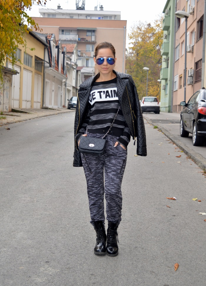 outfit, tracksuit, track pants, striped crop top sweater, crop top, black combat boots