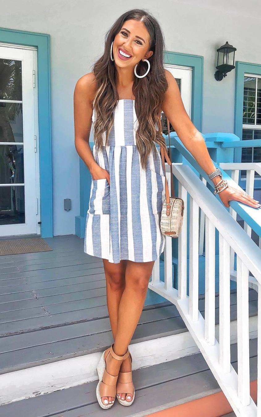 trendy look_striped sundress + crossbody bag + platform sandals