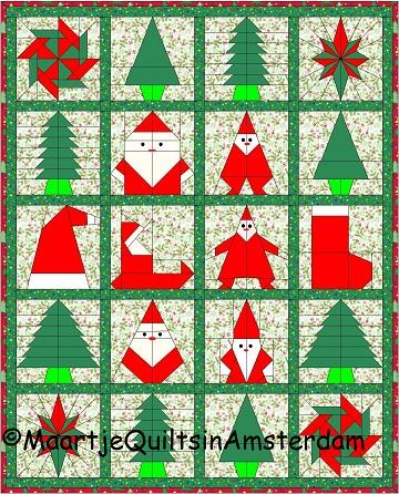 Gratis Paper Piecing Patronen.Quilting In Amsterdam Xmas Wall Hanging Kerstmis Quilt
