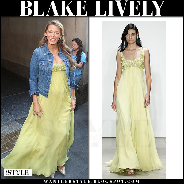 Blake Lively in yellow maxi dress jenny packham and denim jacket madewell what she wore