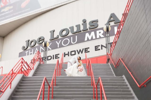 bride and groom at Joe Louis Arena