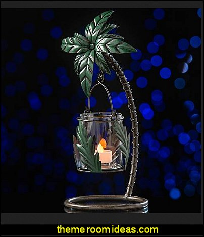 Palm Tree Votive Holder    Tropical party decorations - tropical party ideas - ALOHA Hawaii Luau Party Decorations - Luau Hawaiian Grass Table Skirt raffia Decorations - Hula Hibiscus Tropical Birthday Summer Pool Party Supplies - tiki party pineapple party decorations - beach party - Birthday party  photo backdrop - tropical themed cake decorations - beach tiki themed table decorations -  party props - summer party