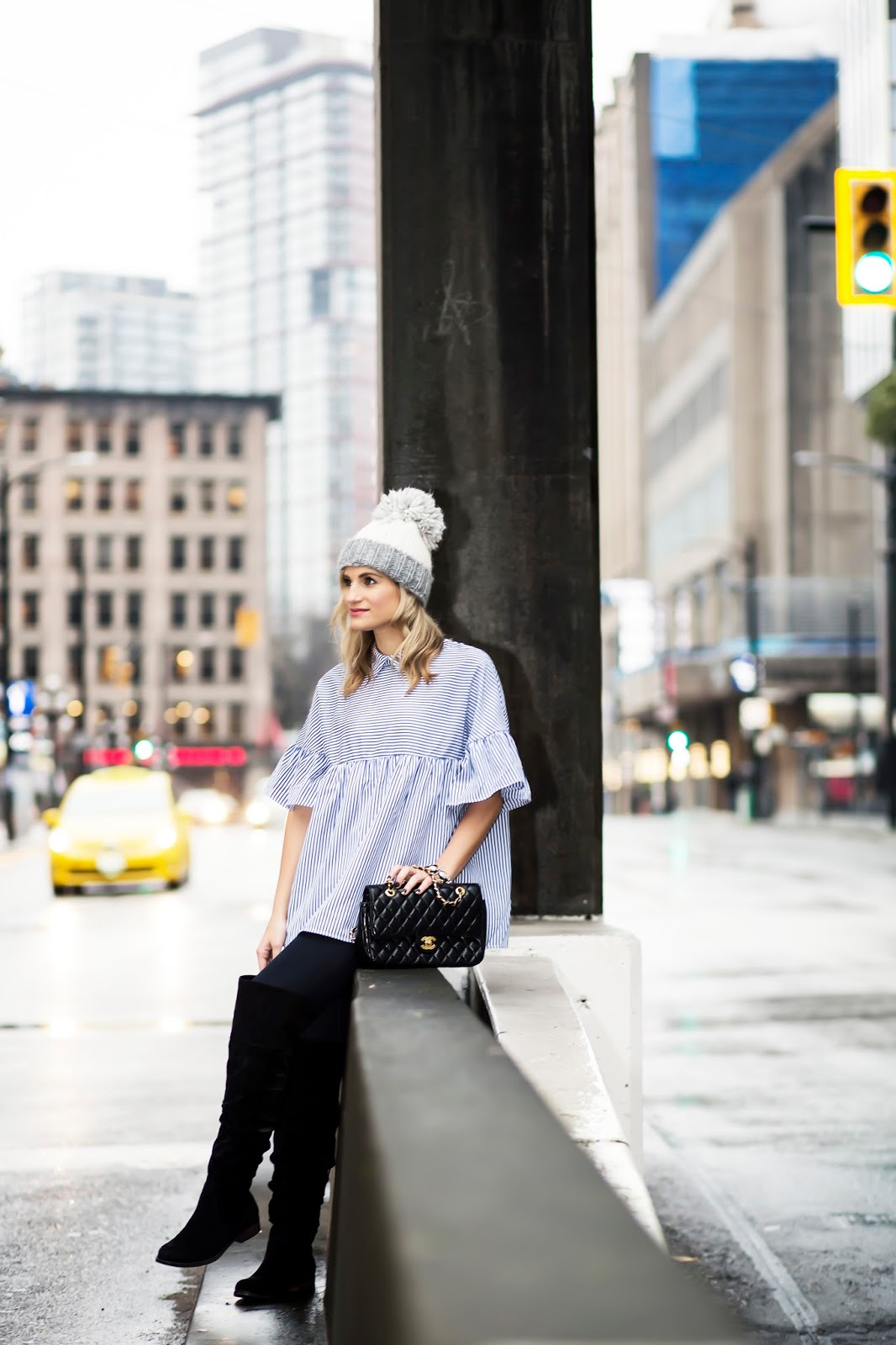 Bijuleni - Winter Uniform - Knee high Suede boots, SheIn ruffle top, skinny jeans, pom pom beanie