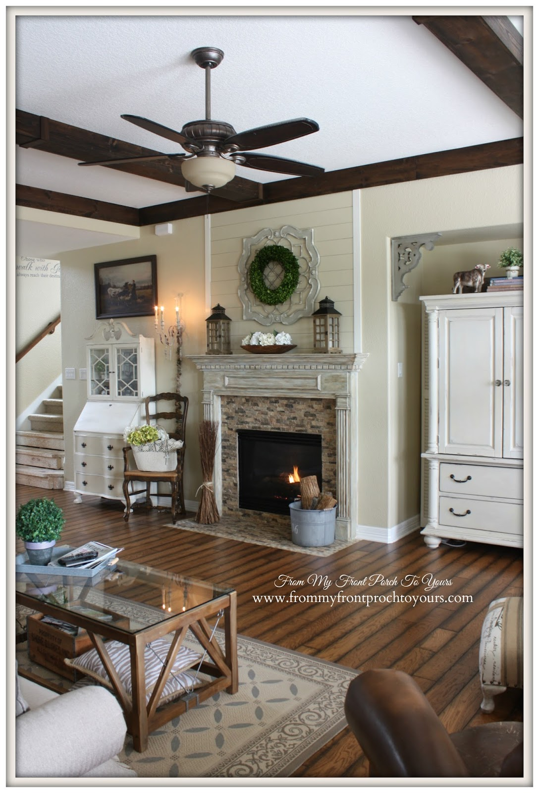 French Farmhouse DIY Wood Beams in living room.- From My Front Porch To Yours