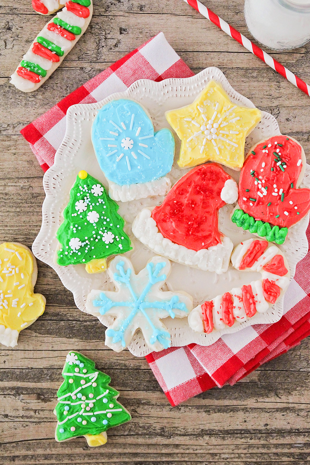 These soft and thick decorated sugar cookies are exactly what a sugar cookie should be! They have the perfect sugar cookie flavor and texture and are so easy to make!