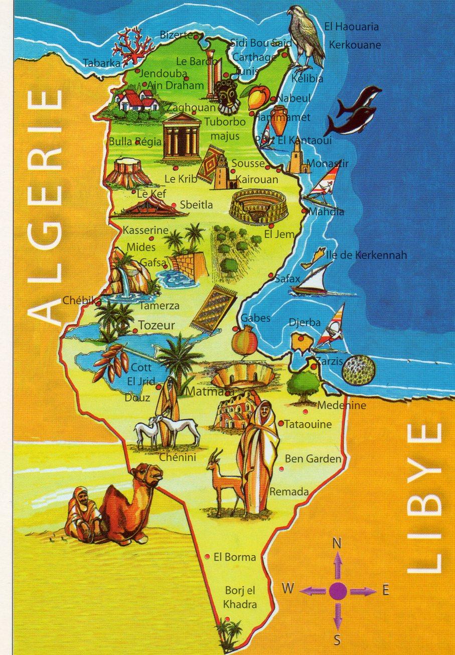 Pocztowkowe Mapy Tunezja