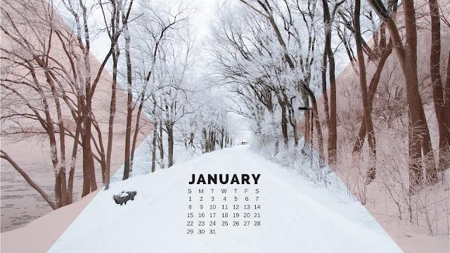 Desktop Wallpaper Calendar January 2017 - Snowy Walk with Trees