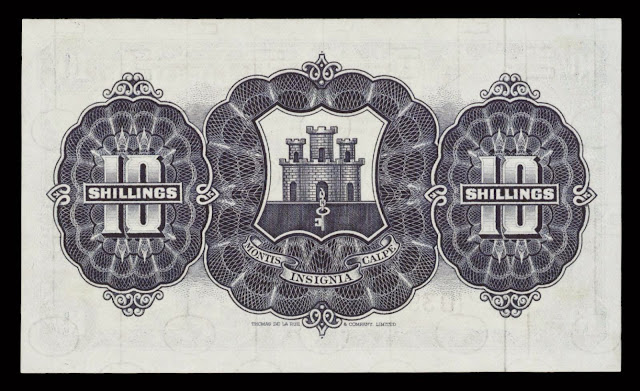 Gibraltar money currency 10 Shillings note 1958 Coat of arms of Gibraltar