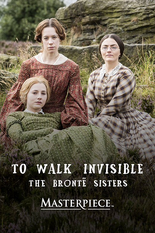 Cover for DVD: Bronte Sisters.  Image of the three sisters sitting together in a pasture, staring dramatically at the camera.