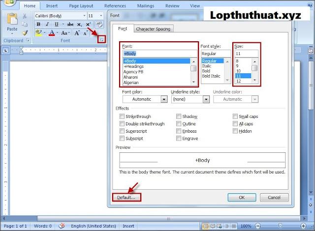Thiết lập font chữ mặc định trong Word 2007-2010-2013