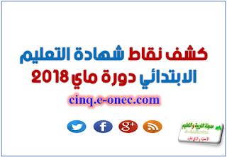 كشف نقاط شهادة التعليم الابتدائي 2018