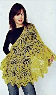 Patrón #1224: Poncho a Crochet