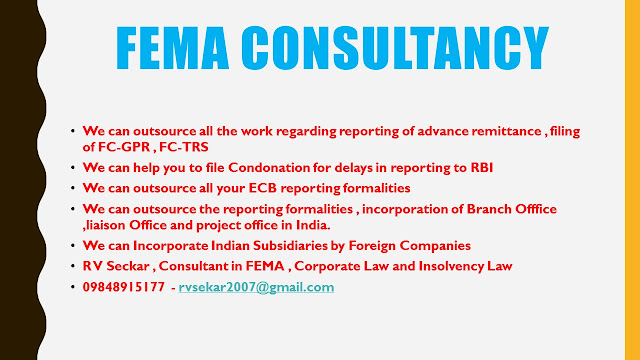 R V Seckar Consultant in FEMA ,Corporate Law & Insolvency Law