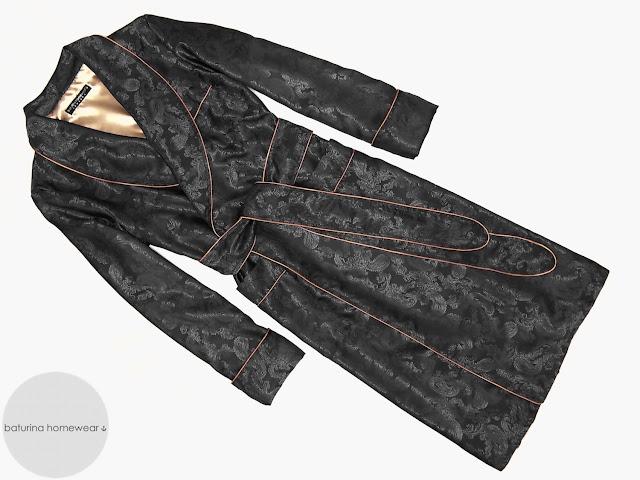 mens black paisley silk robe long lightweight luxury english dressing gown gentleman