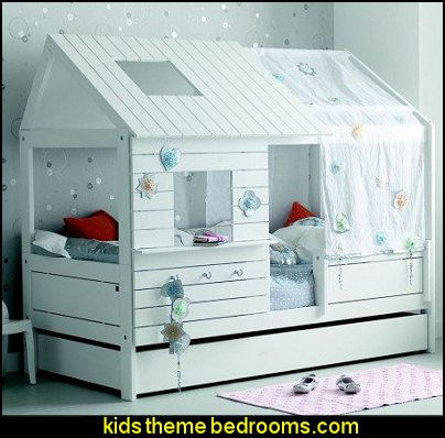 Girls Cabin Bed   theme beds - novelty furniture - woodworking bed plans - unique furniture - novelty furniture - themed furniture - themed beds - castle themed bed - castle loft beds - boat bed - Pirate Ship Bed - BATMOBILE BED - train bed - princess carriage beds - Doll house Beds