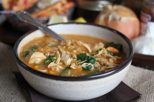 Arctic Garden Studio: Spicy Chicken Rice Soup with Sweet Potatoes and Spinach