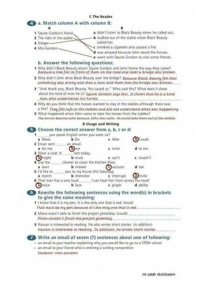 حل أسئلة الورك بوك للثالث الاعدادي المنهج الجديد  9