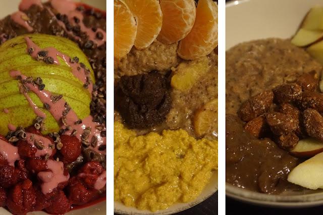 porridge_recette_recipe_vegan_healthy_reequilibrage_alimentaire_oatmeal_ingredients_breakast_petitdejeuner_poire_framboises_pâte_brownie_poire_framboises_clémentines_cannelle_apple_pie