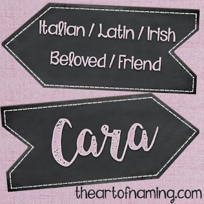 The Art of Naming - Italian Irish Gaelic Latin name for girls - how to pronounce cara kara