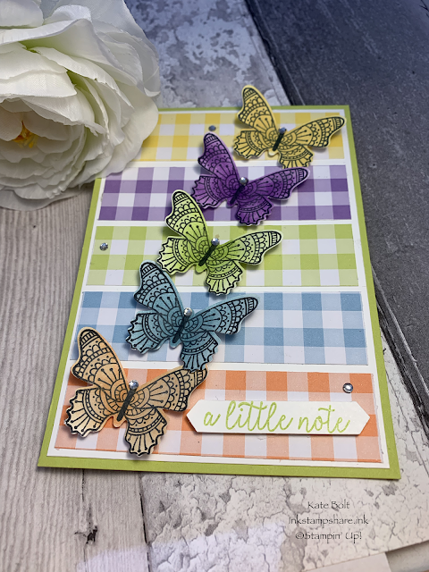 Rainbow butterfly card using Gingham Gala papers from Stampin Up