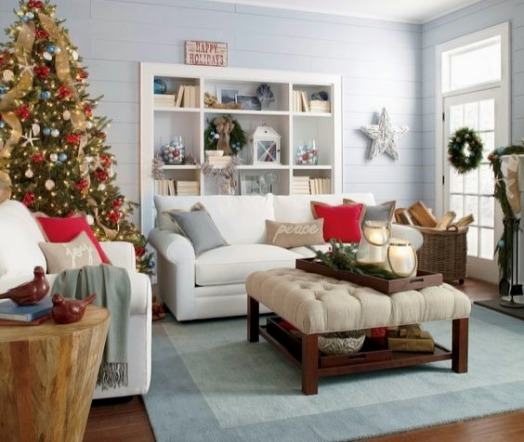 Coastal Christmas Living Room Idea