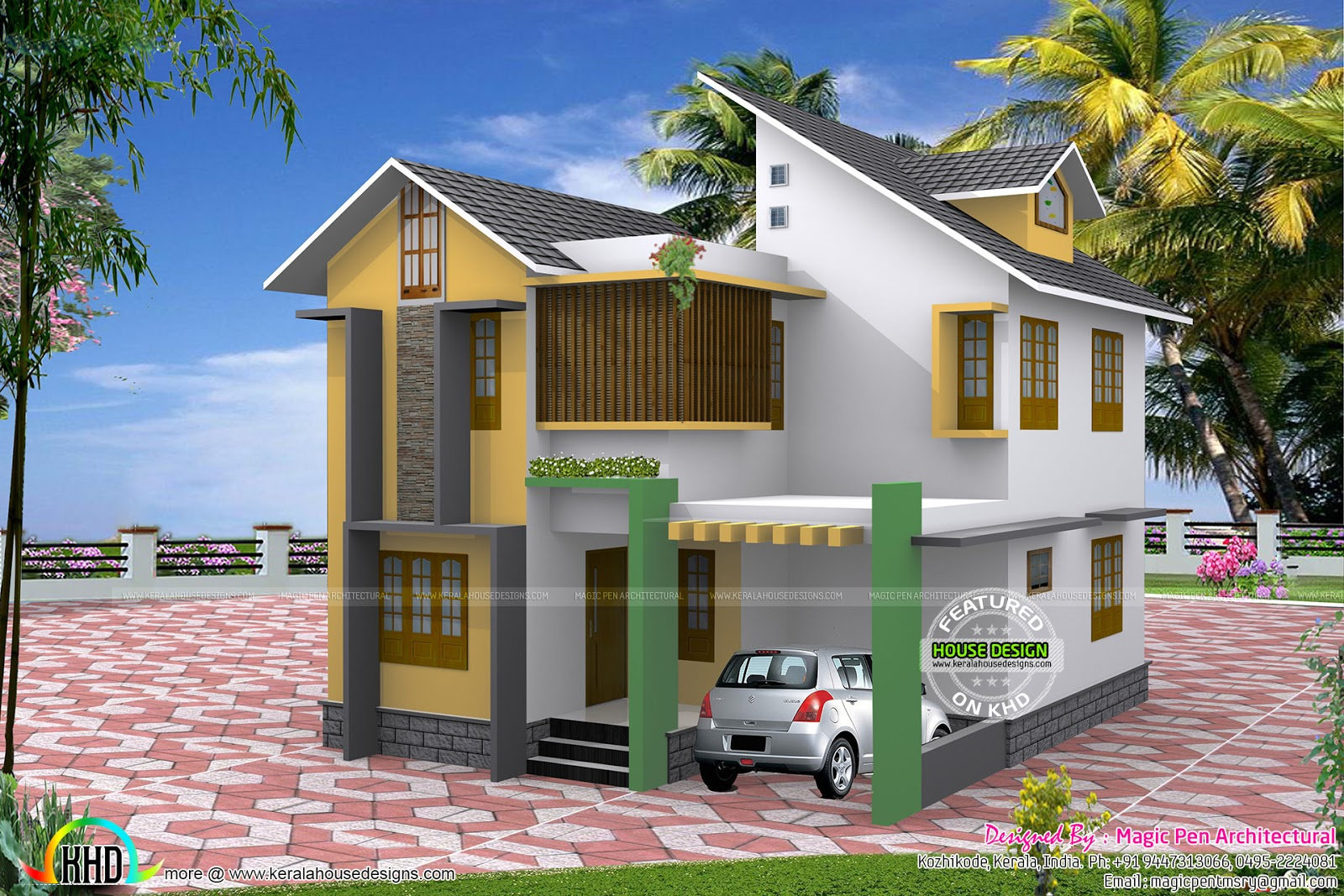 Three bedroom small home in 4 5 cents kerala home design for Small 3 bedroom house designs