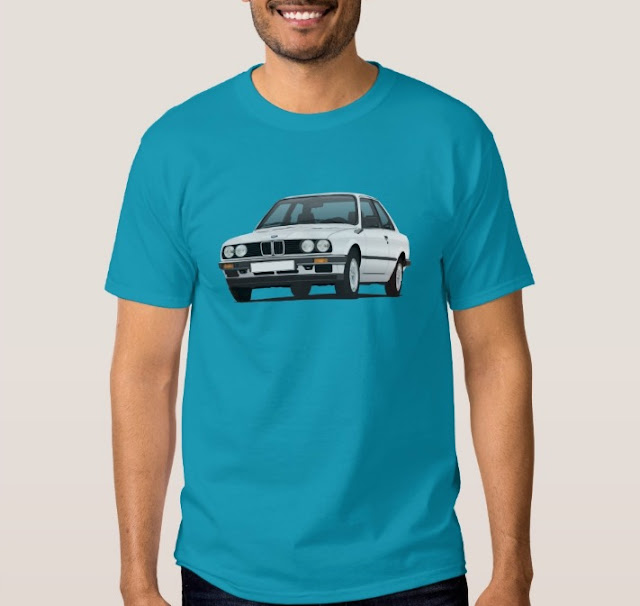 BMW E30 (3 Series) illustration t-shirts @Zazzle Store white