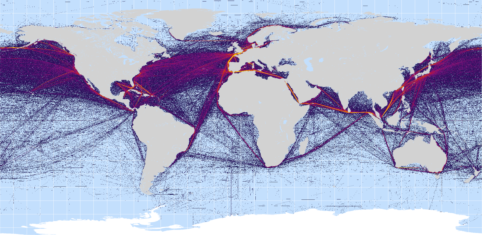 this shipping map shows that maybe a passing freighter might see the launch