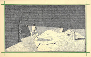 Drawing of two people dragging a body from a grave in the dark of night