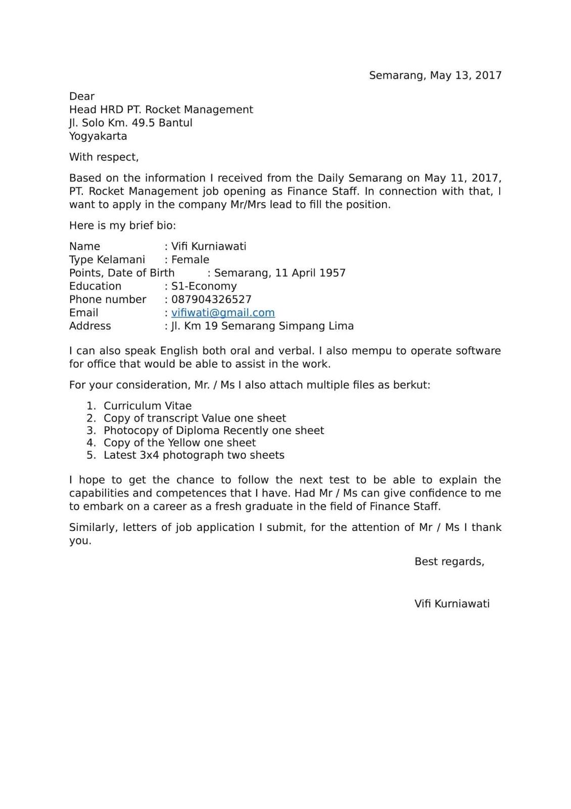 Contoh Surat Lamaran Pekerjaan Dalam Bahasa Inggris Dan Artinya