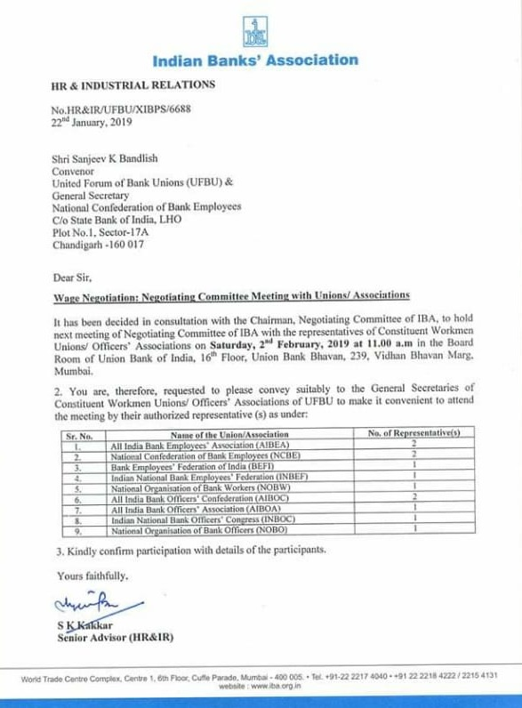 Next 11th Bipartite Wage Negotiation Meeting on 02nd Feb 2019
