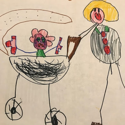 Child's drawing of a crying baby in a pram