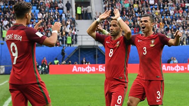 Portugal celebra su victoria contra Nueva Zelanda en la Copa Confederaciones