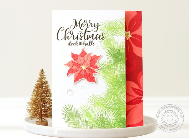 Sunny Studio Stamps: Petite Poinsettias Traditional Red and Green Christmas Card by Nancy Damiano