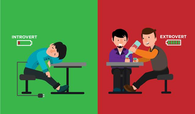 Ilustrasi perbedaan antara Introvert dan Ekstrovert
