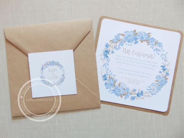 Invitaciones de boda bonitas y con encanto en corona de flores pintadas de acuarela