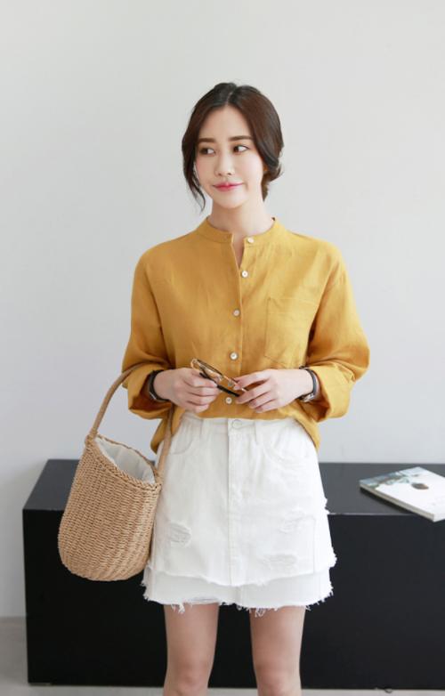 Ivory Tone Pre-Damaged Layered Hem Skirt