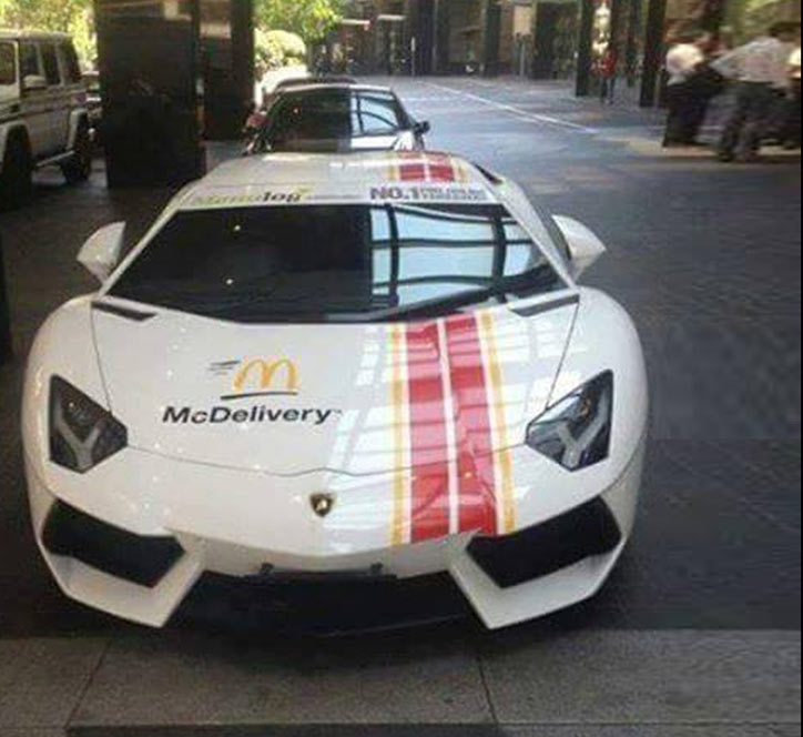 An unusual McDonald's delivery car spotted in Dubai