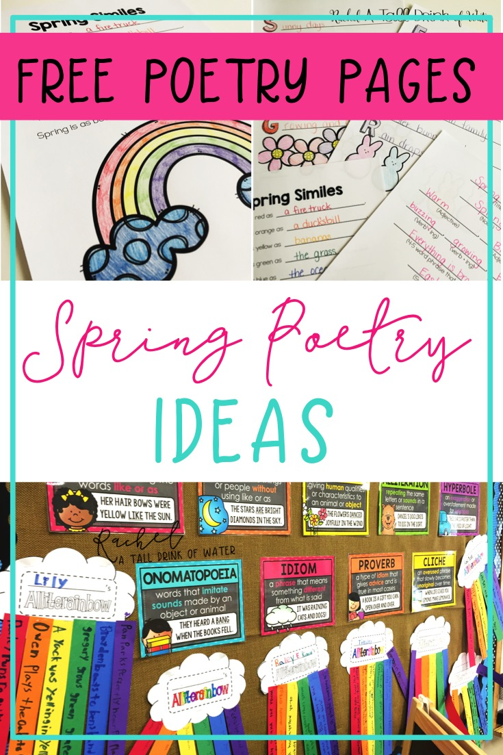 Spring poetry writing ideas with a free set of writing pages.