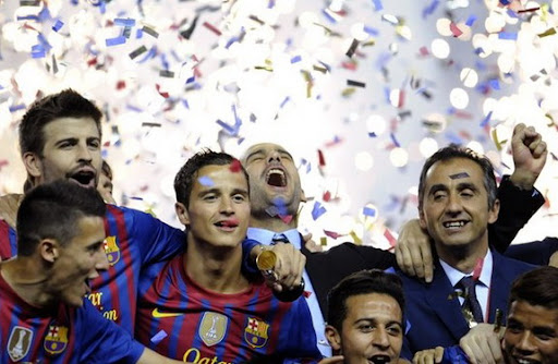 Pep Guardiola celebrates his last victory as Barcelona coach with the Copa del Rey triumph