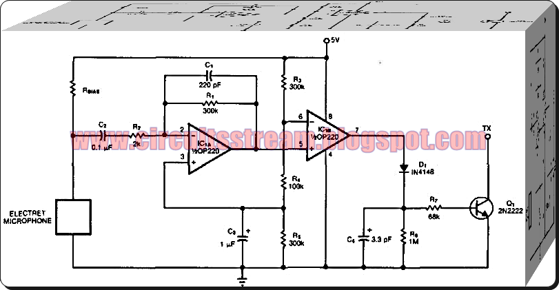 Voice Switched Microphone Controlled Circuit Diagram