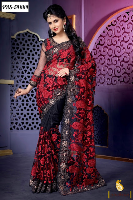 black red net designer saree online shopping collection with great discount sale