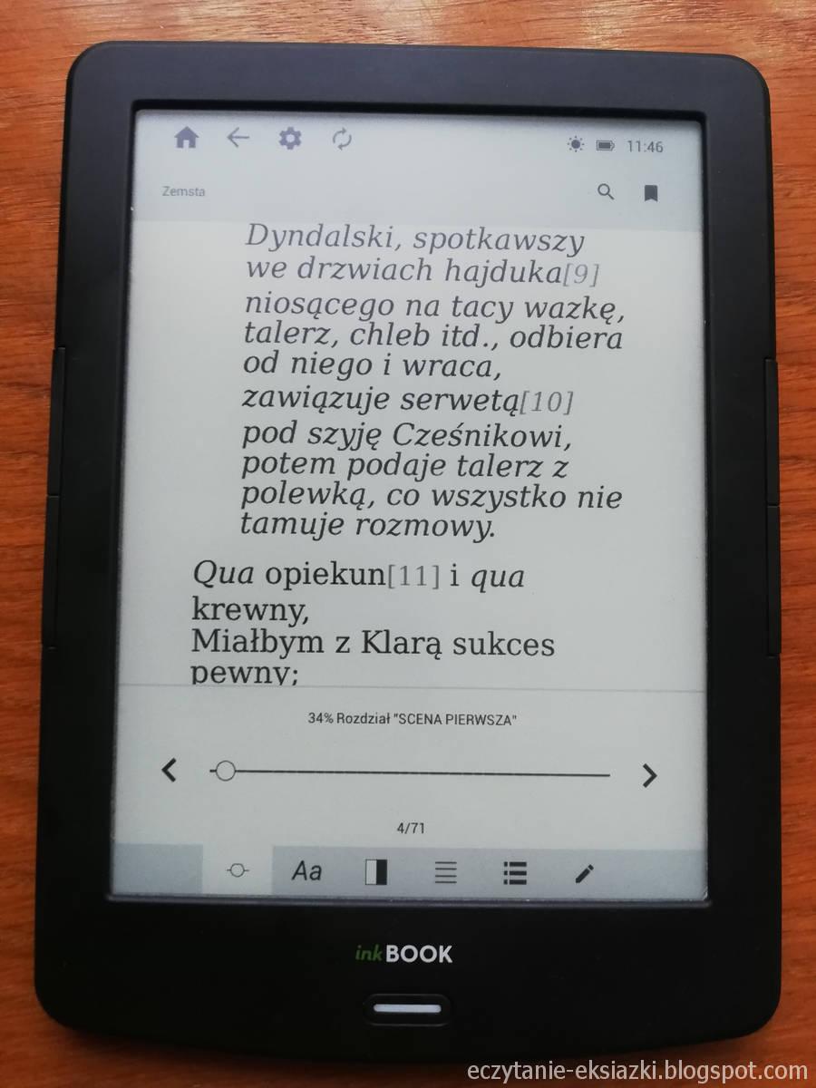 menu ebooka w aplikacji InkReader na InkBOOK LUMOS