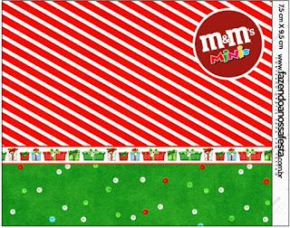 Etiqueta M&M de Navidad a Rayas para imprimir gratis.