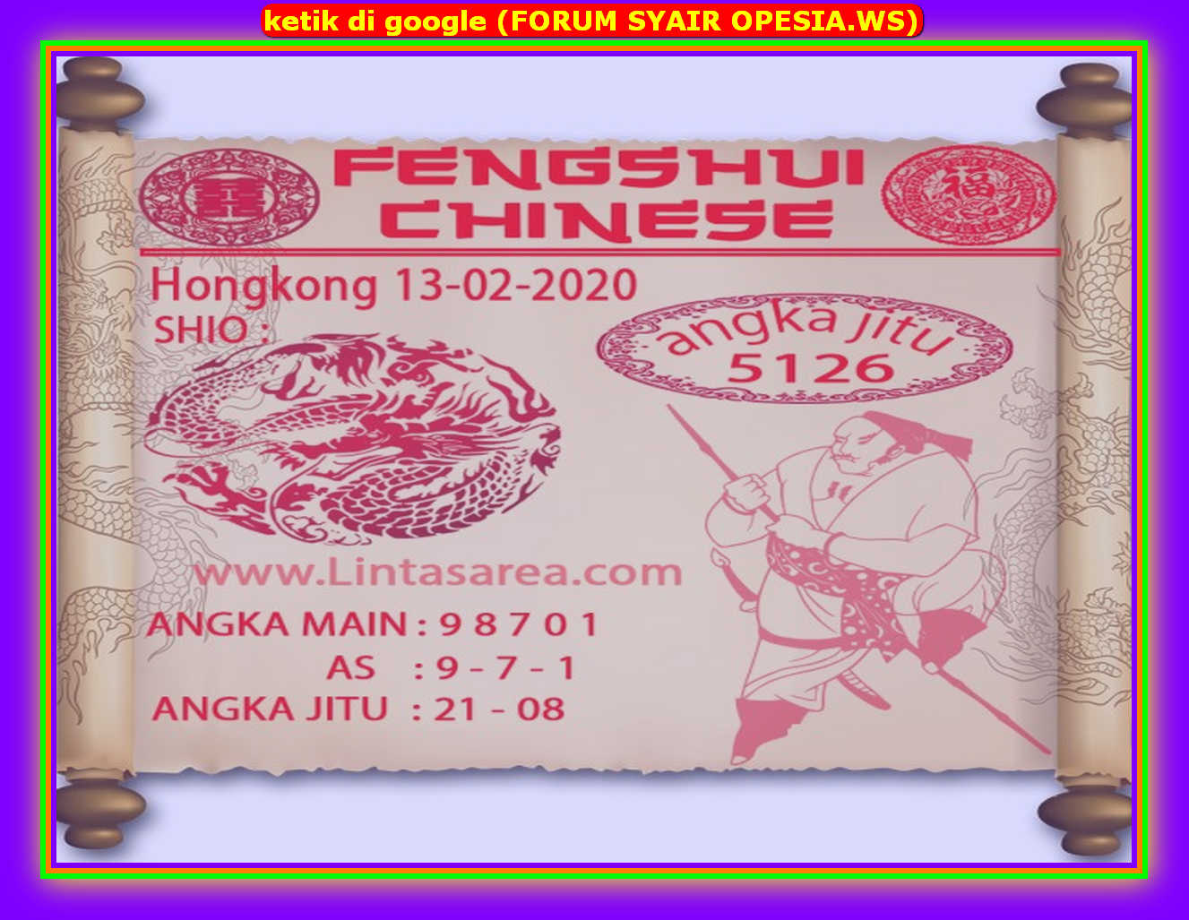 Kode syair Hongkong Kamis 13 Februari 2020 91