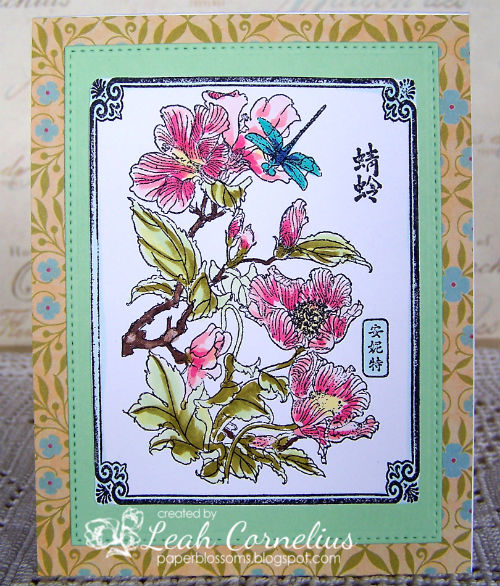 Art Neko, Leah Cornelius, Framed Flowers with Kanji, copic markers