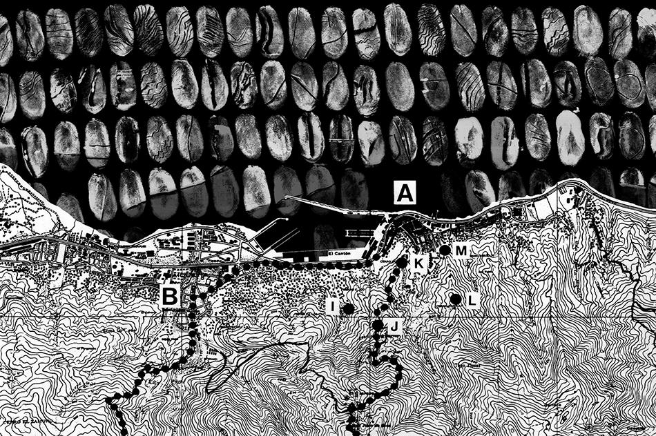Buscando el norte, intervención con huellas en mapa del Camino de los Españoles