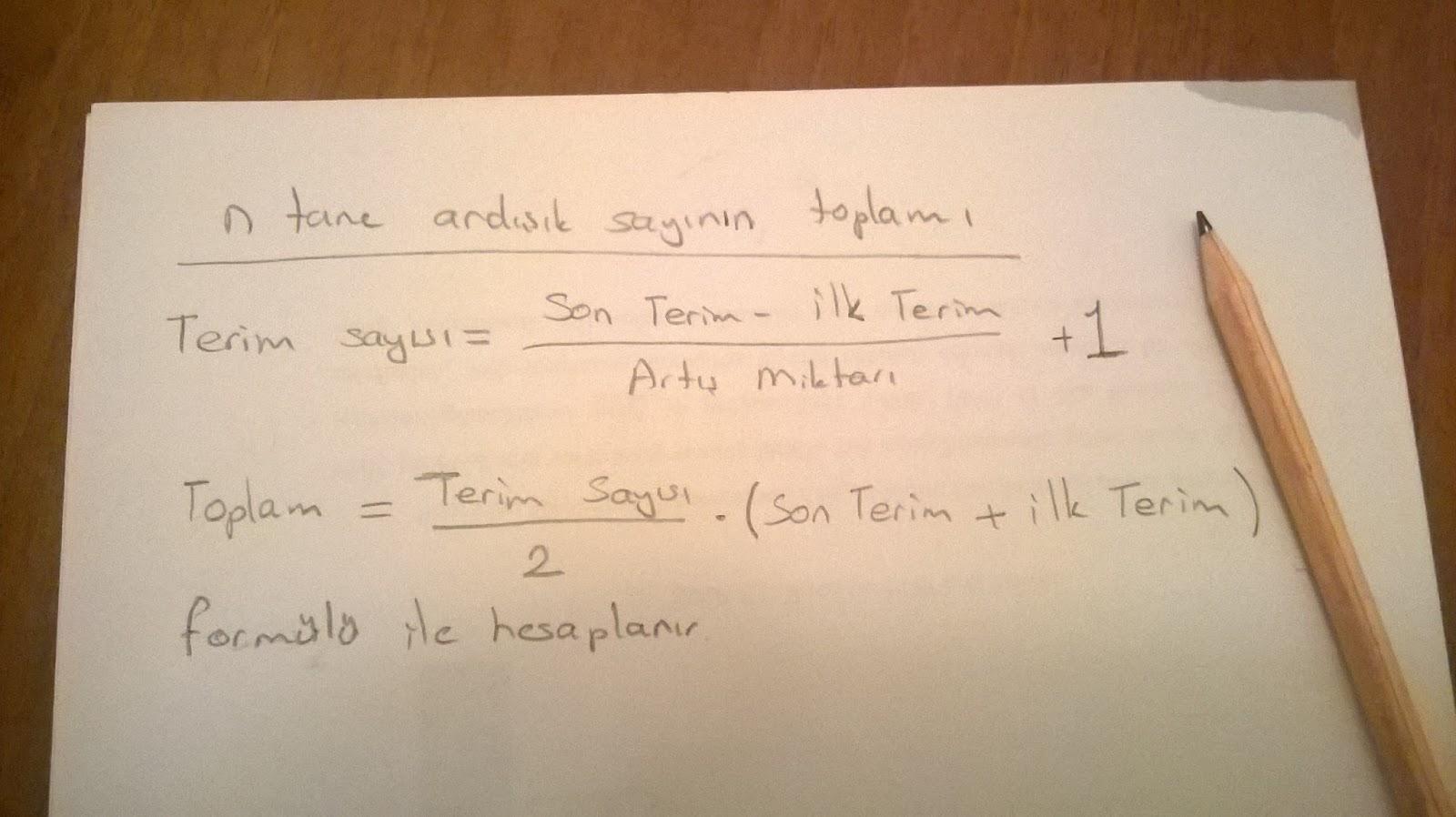 n tane ardışık sayıyı hesaplatan formül